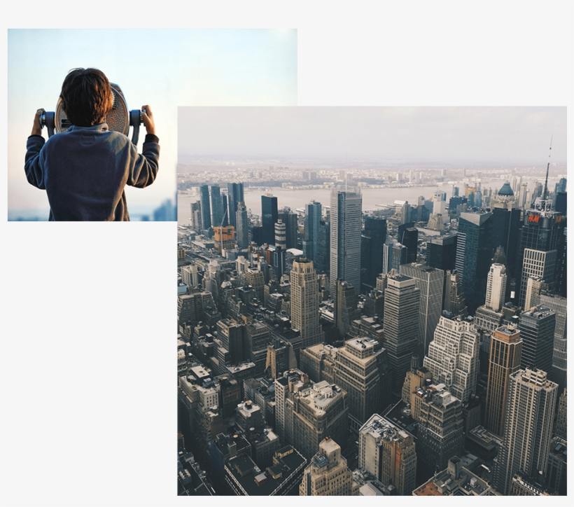 New York Skyline And Boy Looking Out To Nyc - New York City, transparent png #658933
