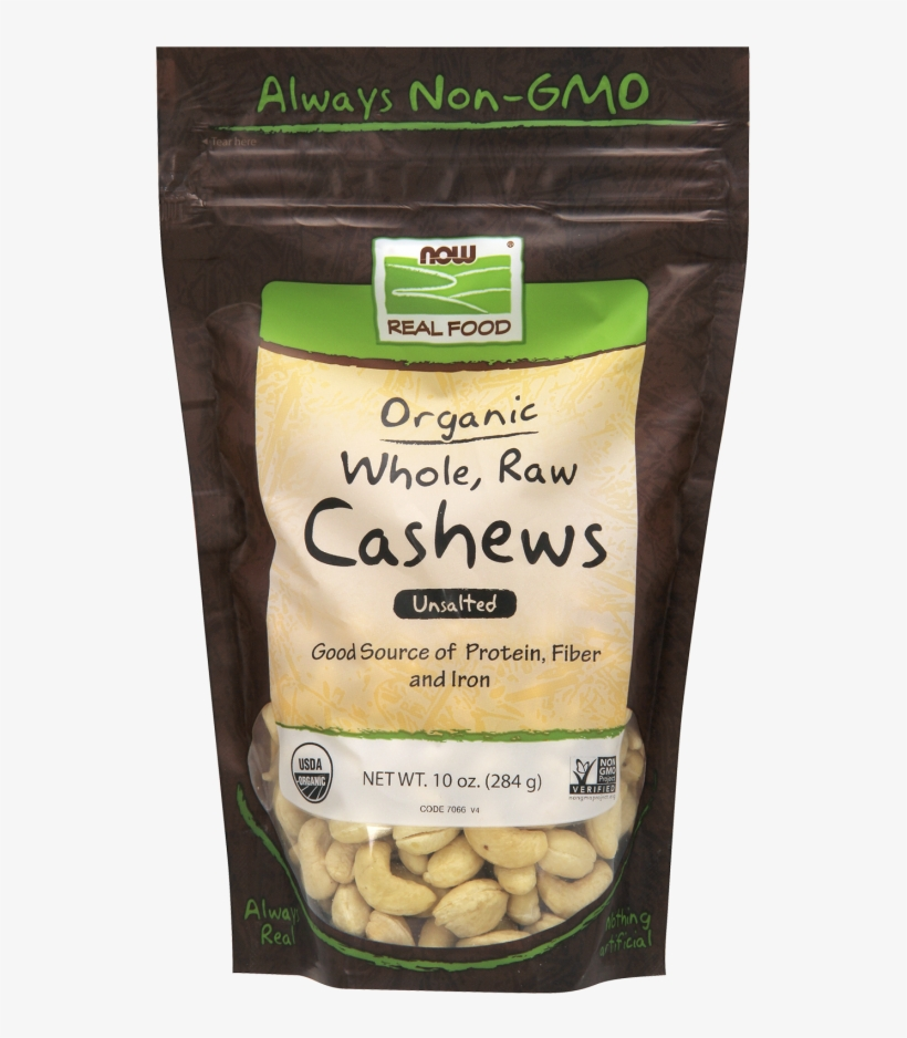 Cashews, Organic, Whole, Raw & Unsalted - Now Foods - Organic Whole Raw Cashews Unsalted - 10, transparent png #659038