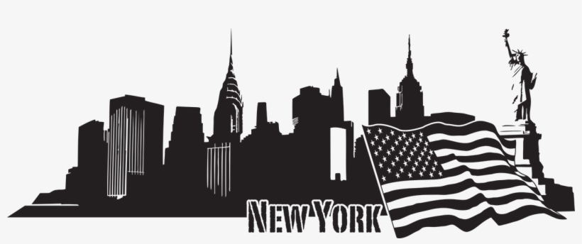 New York Skyline Decal Wall Decals Style And Apply - New York Skyline Decal - Lavender - 39in X 14in, transparent png #659405