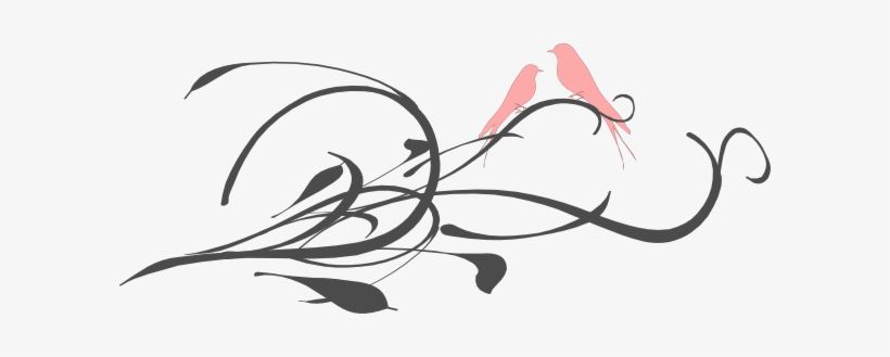 Pink Love Birds On A Branch Clip Art - Love Birds Clipart Pink, transparent png #668882