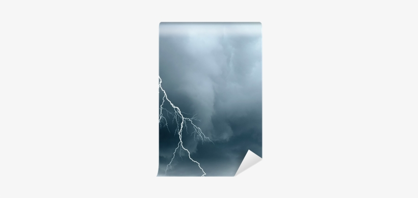 Stormy Sky With Lightning And Black Clouds Wall Mural - Lightning, transparent png #671230