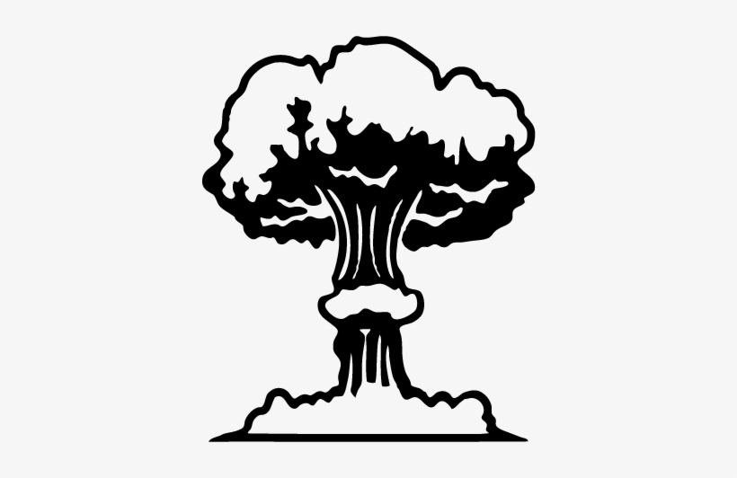 Clip Library Download Drawing Explosions Sad - Walldecal Vinyl Mushroom Cloud Toilet Seat Wall Sticker, transparent png #672511