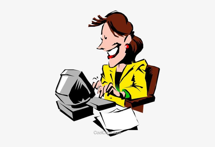 Cartoon Woman Typing At Computer Royalty Free Vector - Professional Woman Cartoon, transparent png #674335