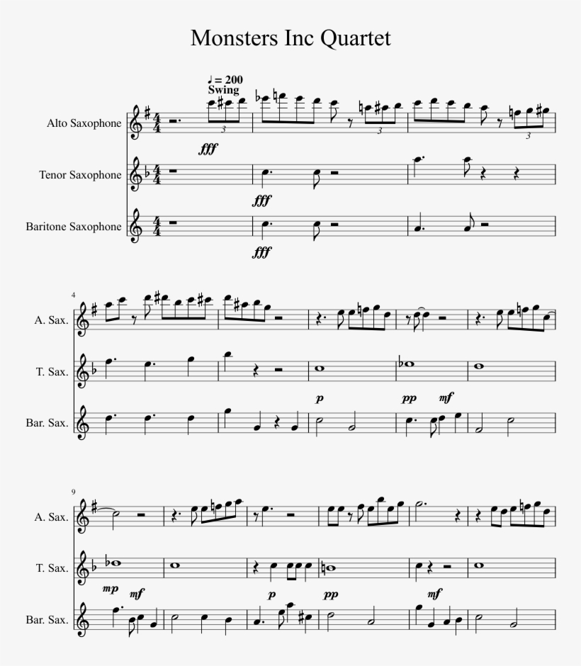 Monsters Inc Quartet Sheet Music 1 Of 5 Pages Spiderman 2