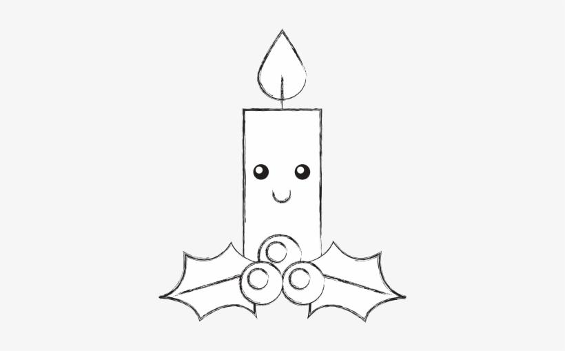 Kawaii Christmas Candle Funny Cartoon Celebration Drawing Free
