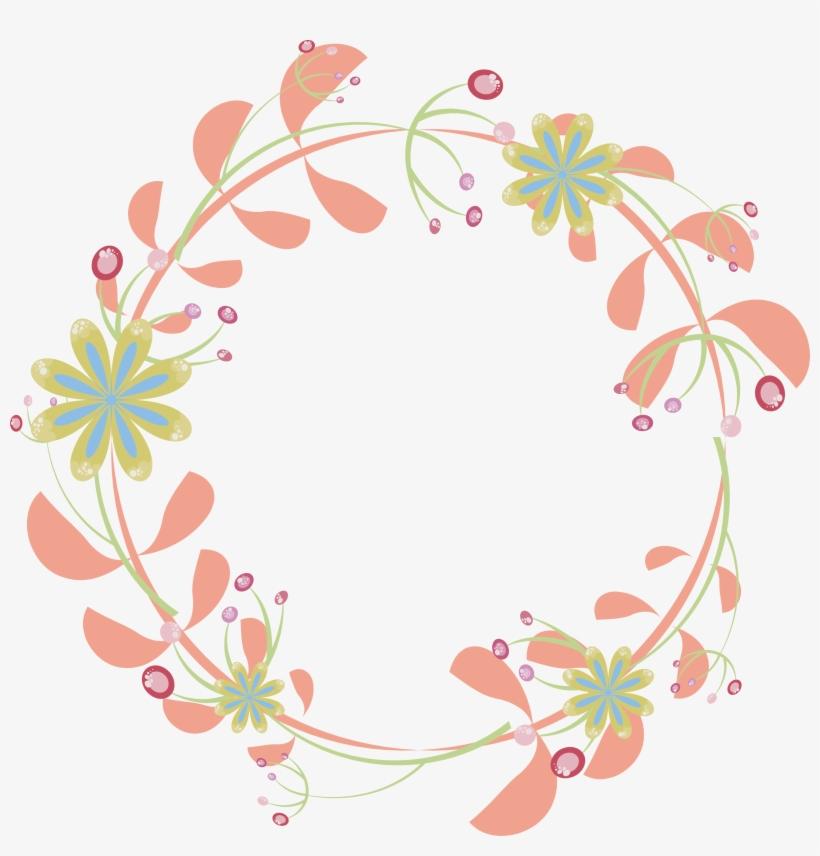 Wedding Invitation Border Flowers - Pink Flower Circle Png, transparent png #682150