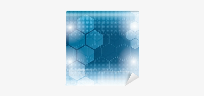 Abstract Technology Background With Hexagons Wall Mural - Hexagon, transparent png #682405