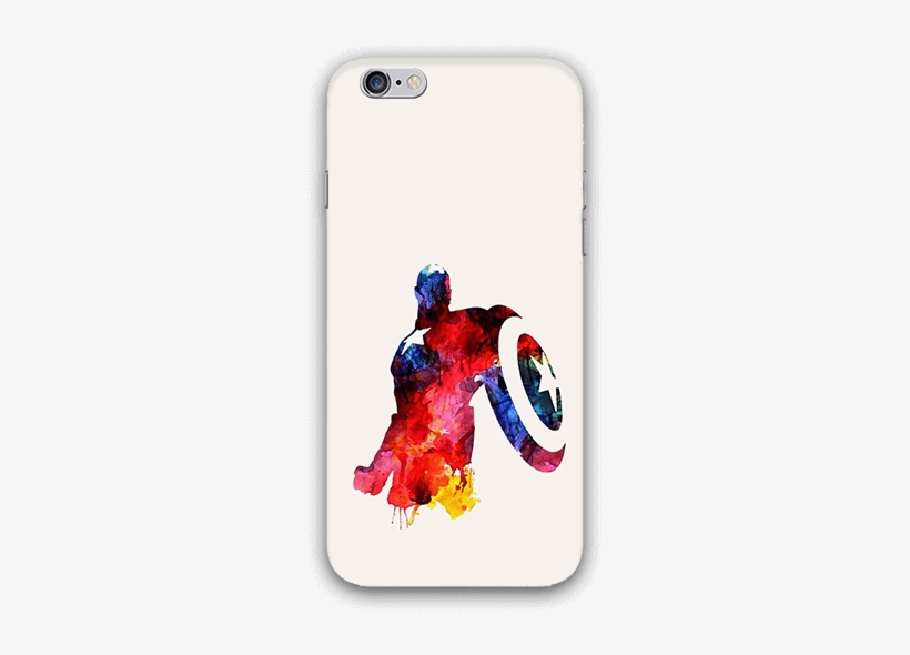 Water Color Captain America Iphone 6s Mobile Case - Captain America Water Paint, transparent png #682897