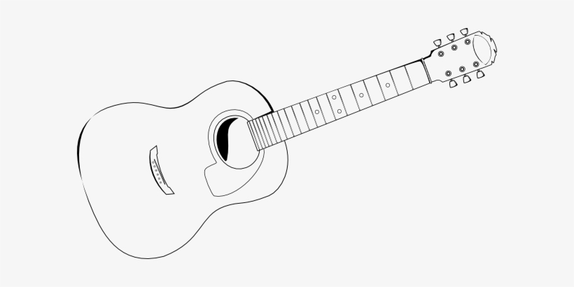 Guitar Drawings Stencil Clipart Freeuse Stock - Acoustic Guitar Outline, transparent png #684139