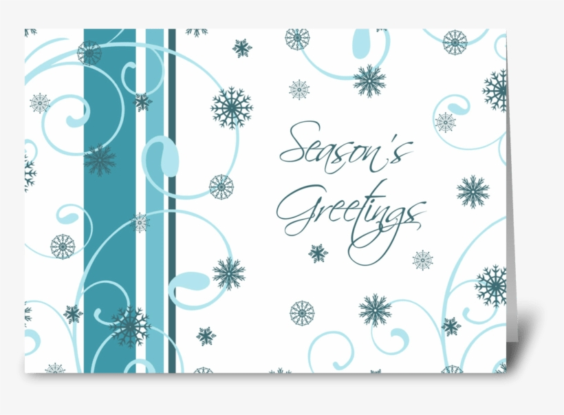 Season's Greetings Teal White Snowflakes Greeting Card - Christmas Eve Birthday Cards, transparent png #689118