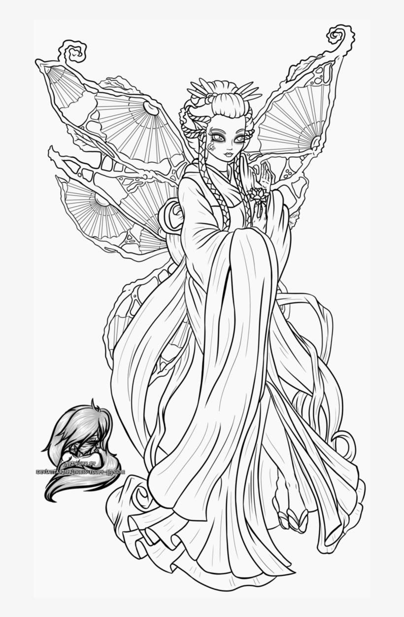 Geisha Coloring Pages Free Elf Princess Page In Lisa Free Transparent Png Download Pngkey