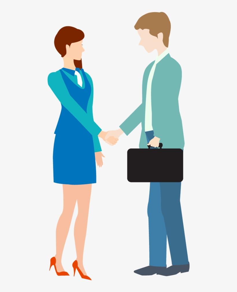 Cartoon Business Man And Woman Shake Hand - Free Clip Art Business Handshake, transparent png #696891
