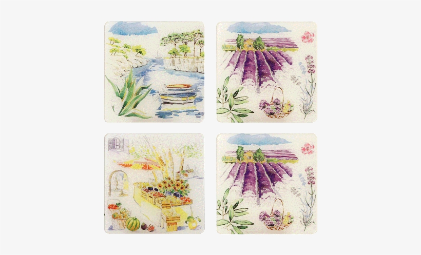 4 Acrylic Coasters - Gien Provence Acrylic Glass Coasters, Set Of 4, transparent png #698649