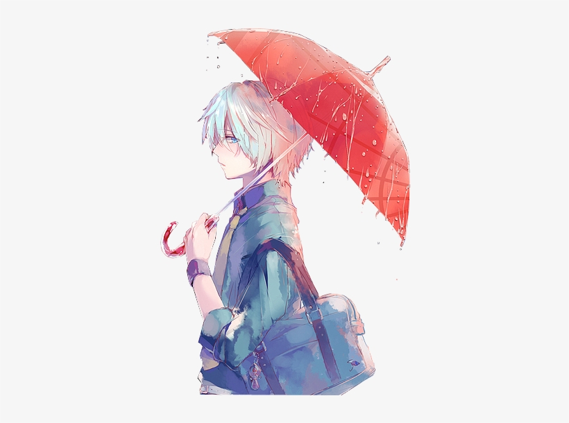 Anime, Anime Boy, And Umbrella Image - Anime Boy With White Hair And Blue Eyes, transparent png #699473