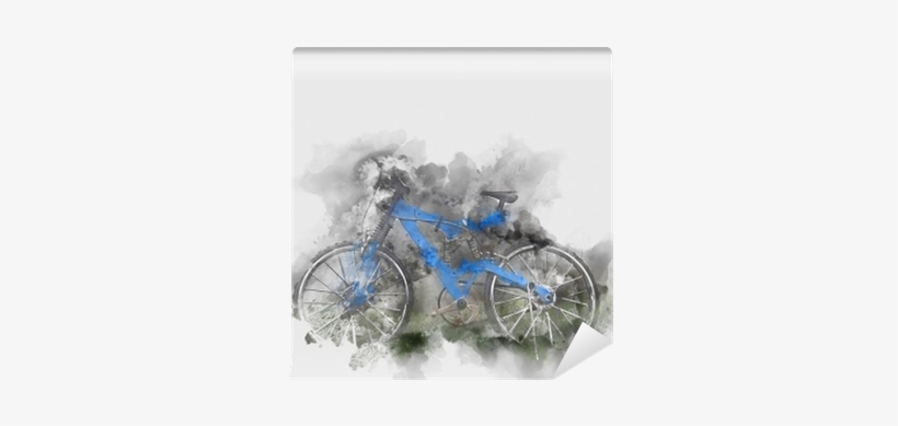 Abstract Bicycle Isolated On Watercolor Background - Watercolor Painting, transparent png #70097