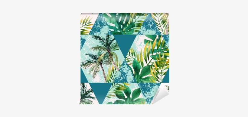 Watercolor Tropical Leaves And Palm Trees In Geometric - Watercolor Painting, transparent png #70614
