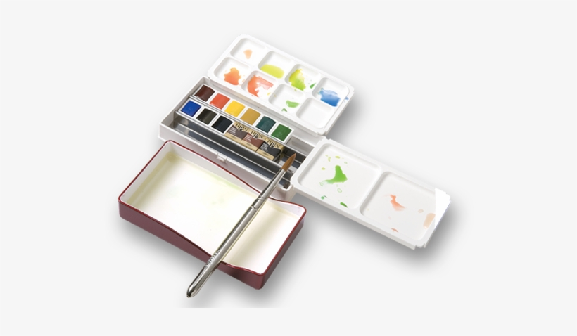 Palm Box Set Of 12 Colors - Holbein Watercolor Half Pan, transparent png #71725