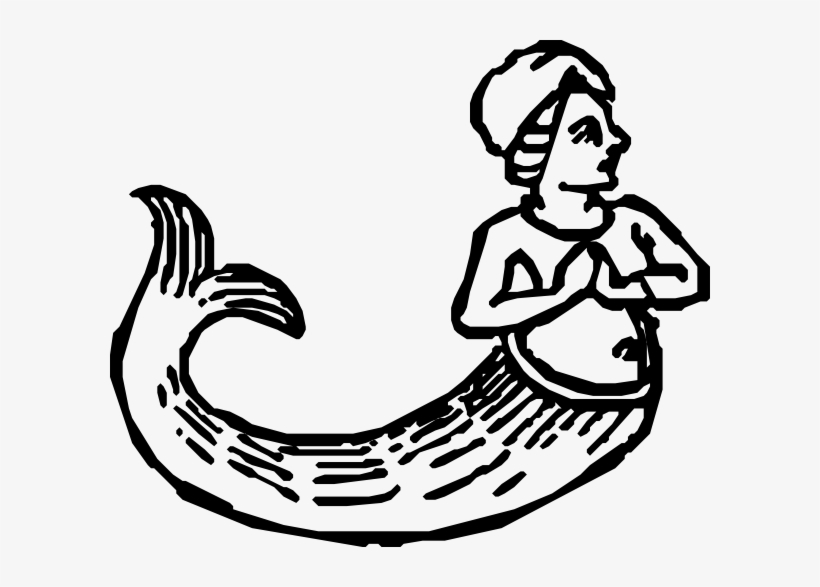 Clip Arts Related To - Mermaid Black And White Vectors, transparent png #72973
