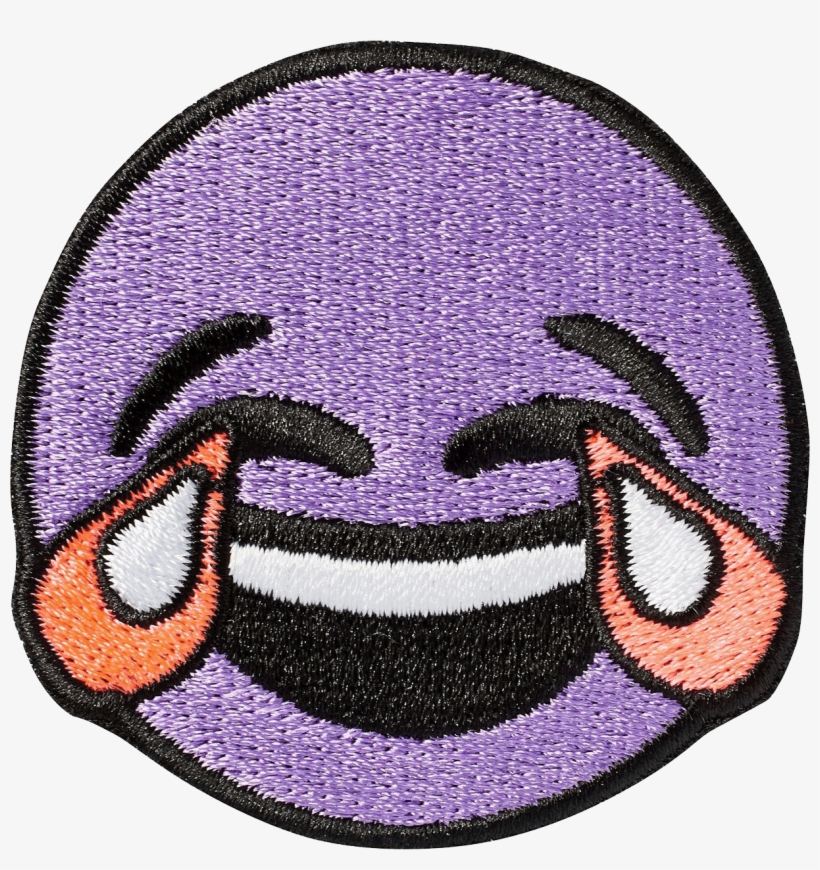 Crying Laughing Emoji Sticker Patch - Purple Laughing Crying Emoji, transparent png #75451