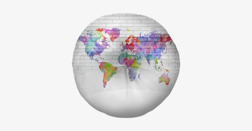 Watercolor World Map On A Brick Wall Tufted Floor Pillow - World Map, transparent png #76055