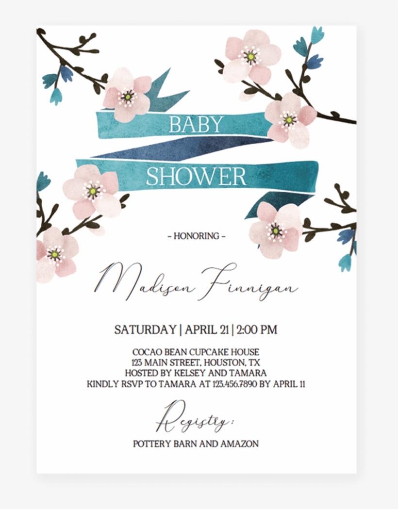 Floral Baby Shower Invitation Cherry Blossom By Littlesizzle - Baby Shower Invitation Baby Cherry Blossom, transparent png #76210
