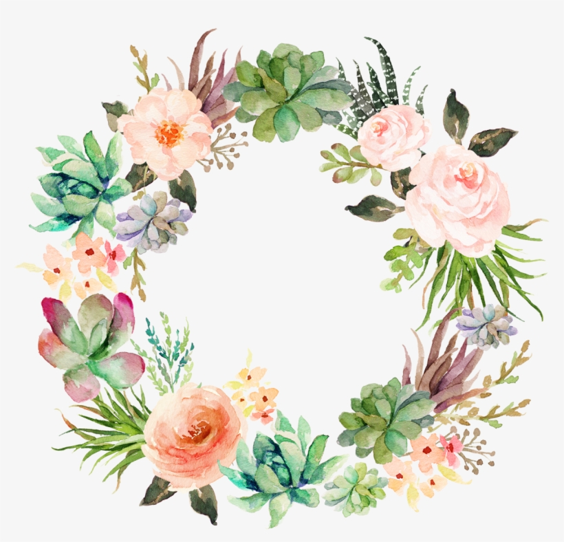 Wedding Invitation Paper Watercolor Painting Wreath - Watercolor Succulents With Flowers, transparent png #76764