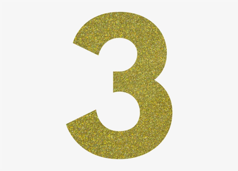 Confetti Gold - Gold Glitter Number 3, transparent png #78463