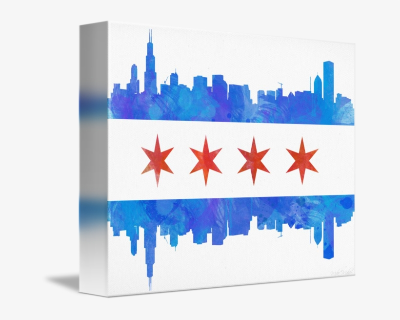 Chicago Flag Watercolor By Michael Maher Banner Royalty - Chicago, transparent png #78802