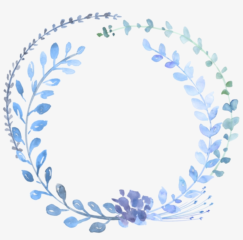 Png Freeuse Library Watercolour Flowers Watercolor - Blue Watercolour Wreath Png, transparent png #79492