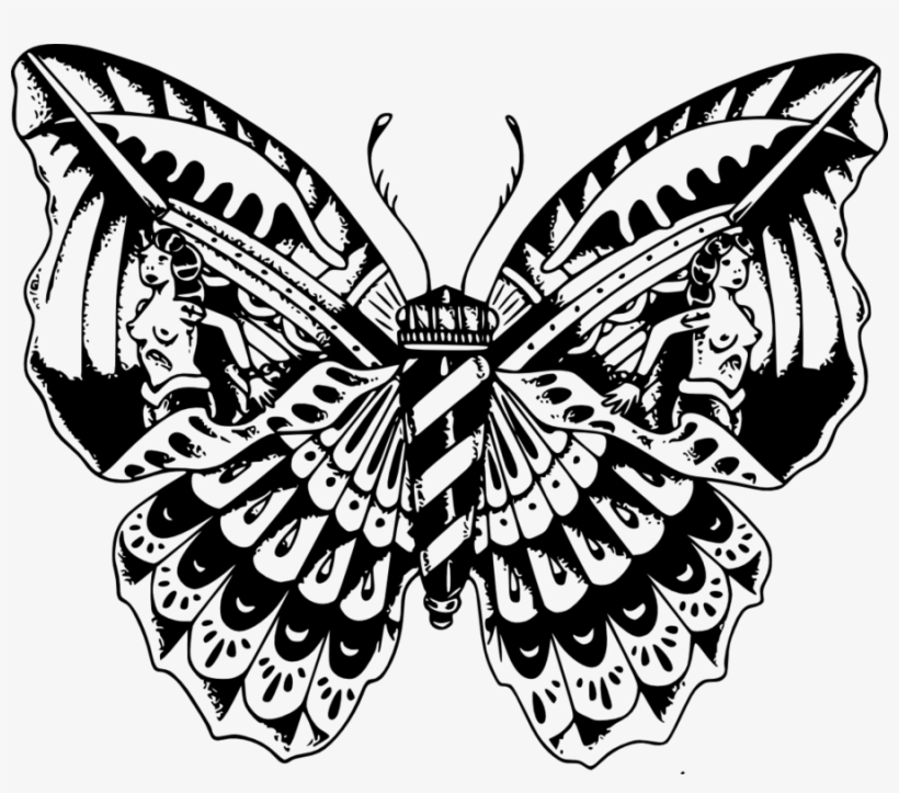 Skull Butterfly Drawing At Getdrawings - Butterfly Skull Tattoo Png, transparent png #701156