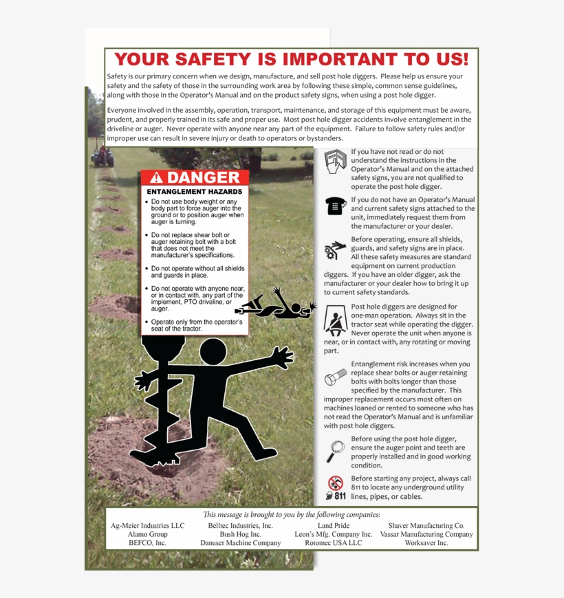 Post Hole Digger Product Safety Ad Pdf - Farm Equipment Manufacturers Association, transparent png #702240