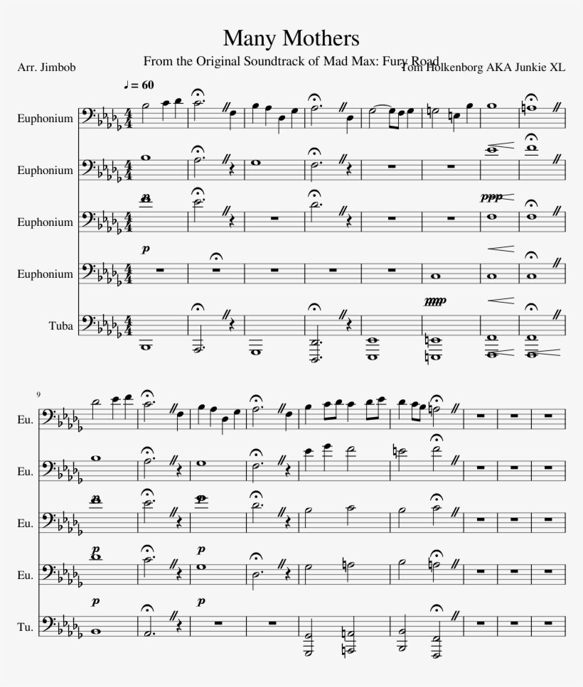 Uploaded On Dec 22, - Mad Max Many Mothers Sheet Music, transparent png #709581
