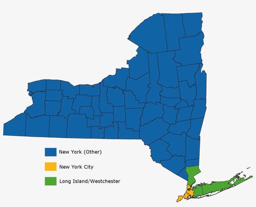 A Map Showing New York City, Long Island/westchester, - Population Center Of New York State, transparent png #709851