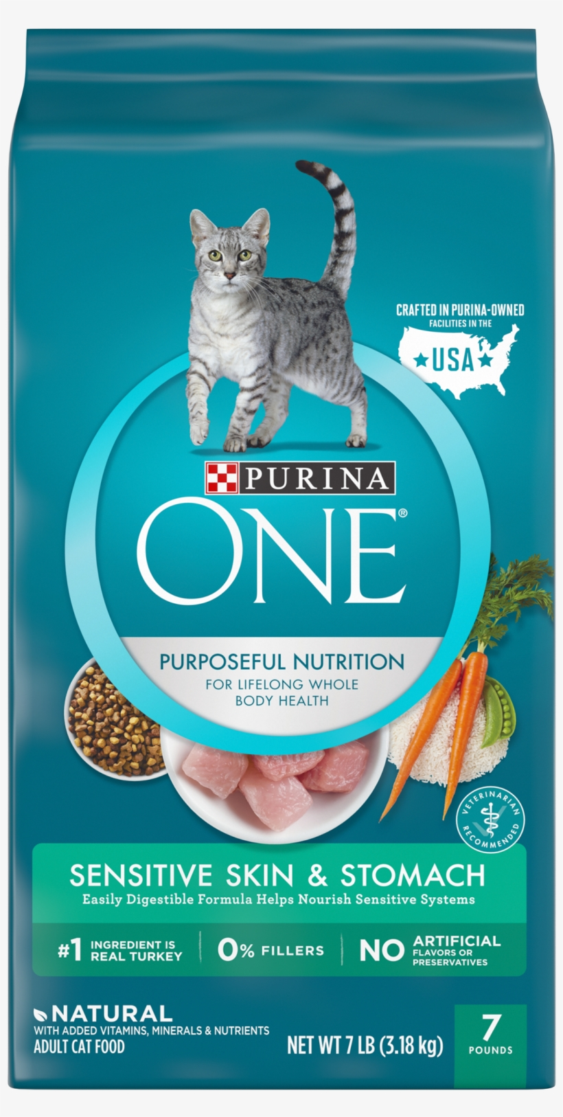 Purina One Sensitive Skin & Stomach Formula Adult Dry - Purina One Cat Food Indoor, transparent png #711017