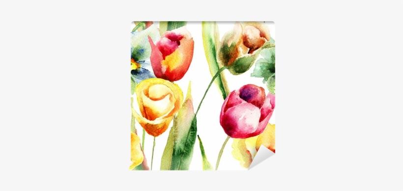 Watercolor Illustration Of Tulips Flowers Wall Mural - Atelie Valverdi Jogo De Quadros Tulipas - Branco, transparent png #711505