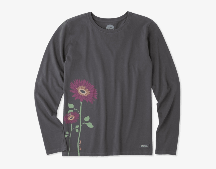 Women's Namaste Daisies Long Sleeve Crusher Tee - Long-sleeved T-shirt, transparent png #715010