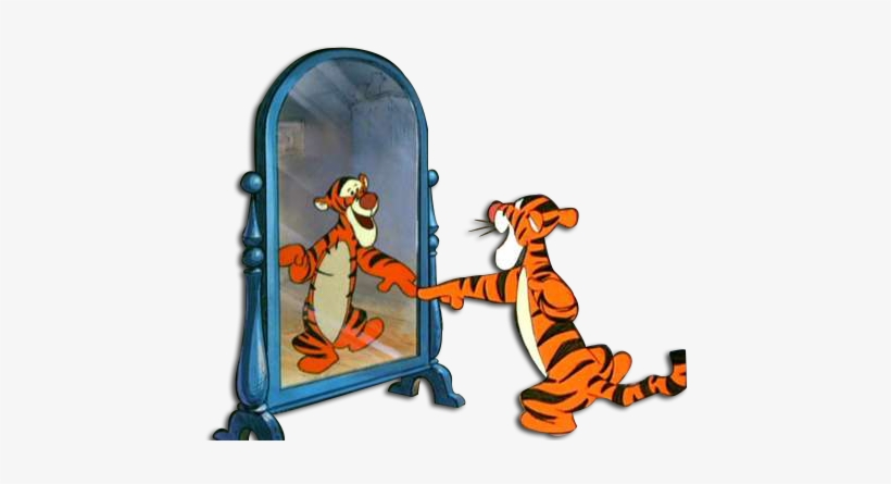 Tigger Looking In Mirror - Looking In Mirror Transparent, transparent png #716642