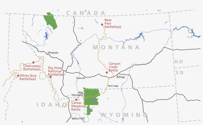 A Map Of Idaho Montana And Parts Of Wyoming North Free