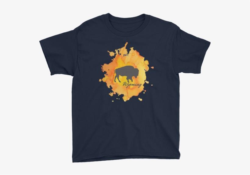 Wyoming Watercolor Burst Bison - T-shirt, transparent png #721578