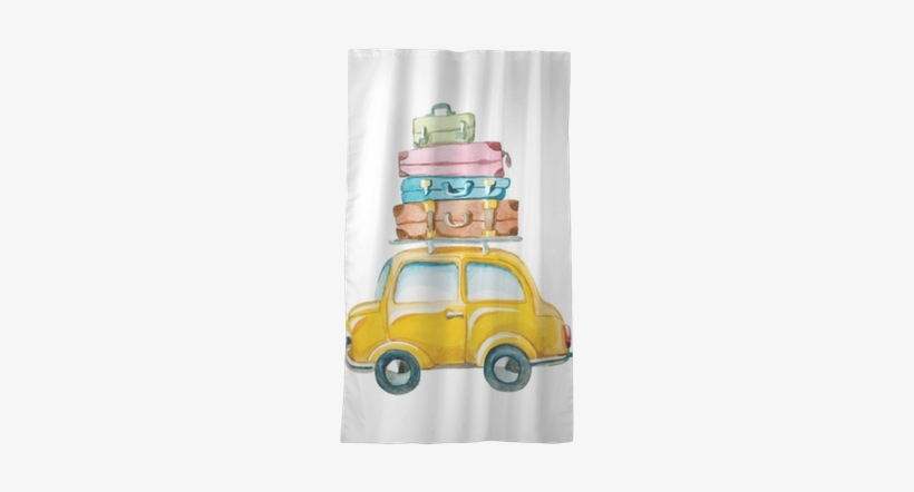 Hand Drawn Yellow Car With Suitcase On The Roof - Watercolor Suitcase Clipart, transparent png #721581