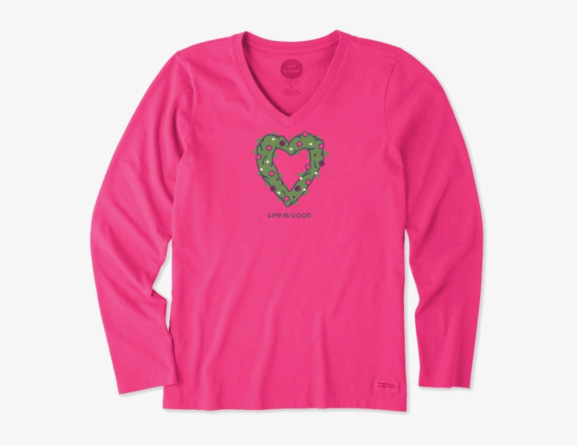 Women's Heart Wreath Long Sleeve Crusher - Life Is Good, transparent png #724028