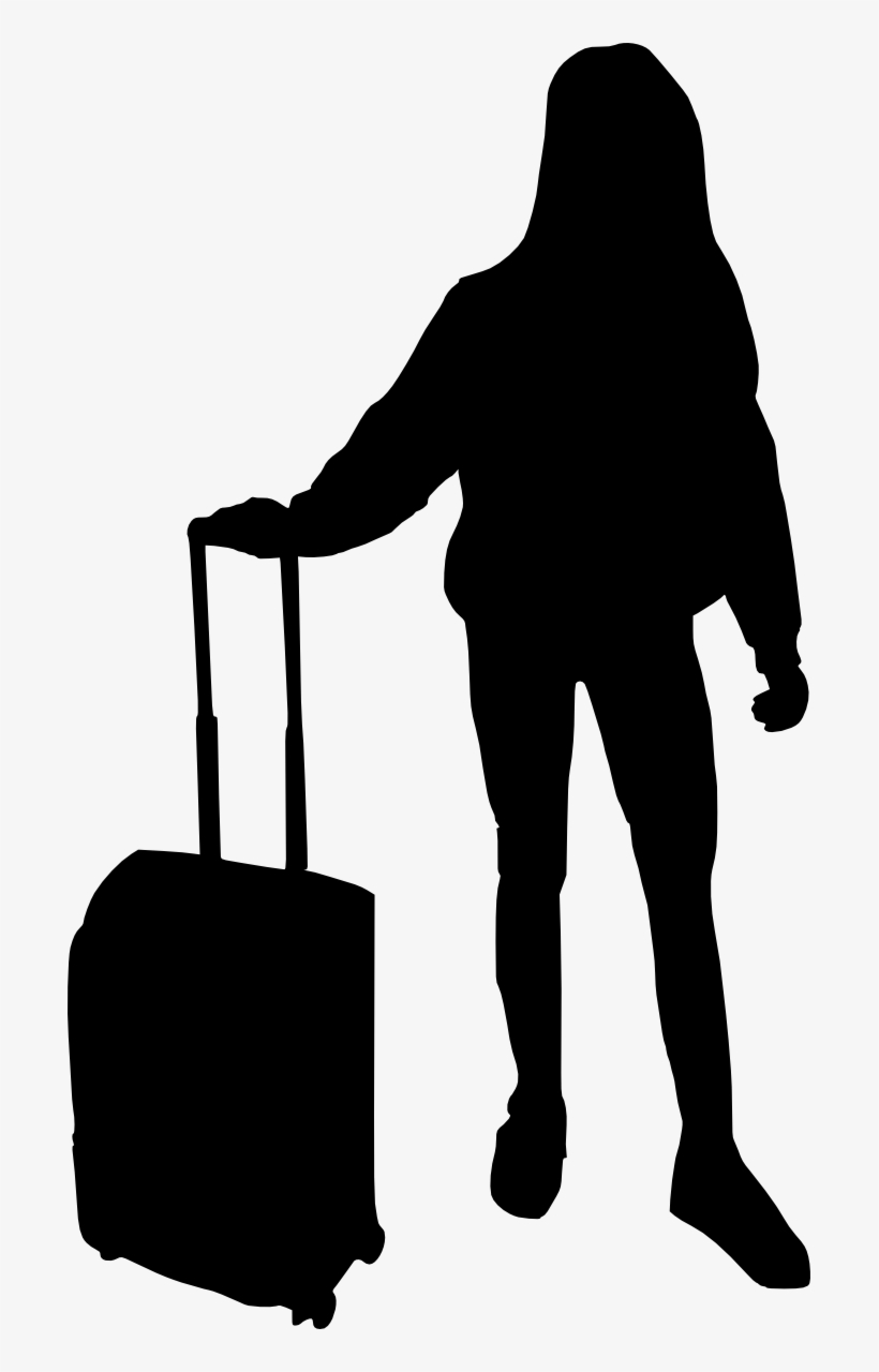 Free Download - Woman With Luggage Silhouette, transparent png #725965