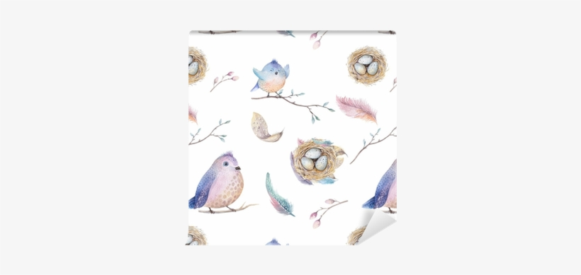 Watercolor Spring Rustic Pattern With Nest, Birds, - Clipart Watercolor Illustrations Spring, transparent png #727604