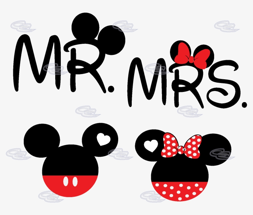 Mickey Minnie Mouse Head Mr Mrs With Big Ears - Mr & Mrs Mickey Mouse, transparent png #736398