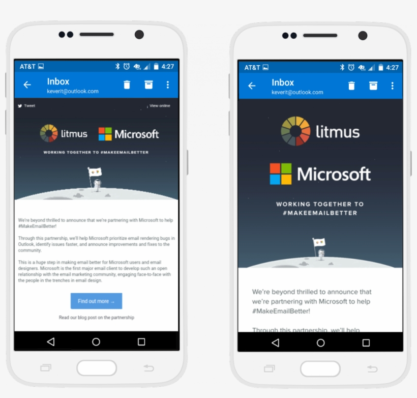 Email Rendering In The Outlook Android App Before And - Free