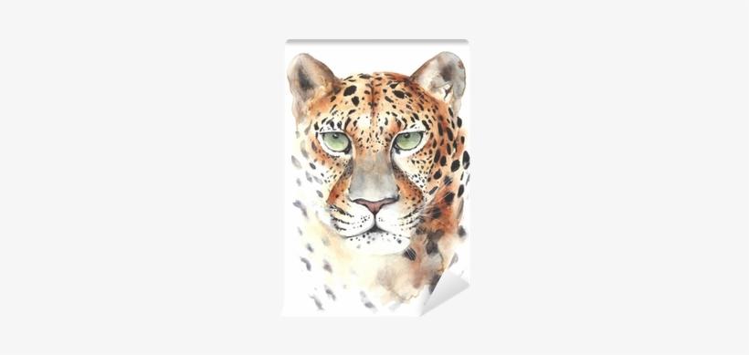Leopard Big Cat Head Portrait Watercolor Painting Illustration - Painting, transparent png #750415