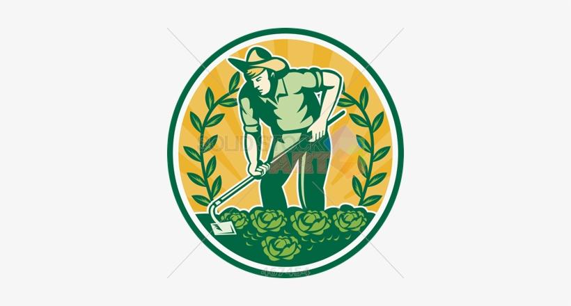 Stock Illustration Of Retro Cartoon Illustration Of - Farmer Gardener With Garden Hoe Cab Shower Curtain, transparent png #751708
