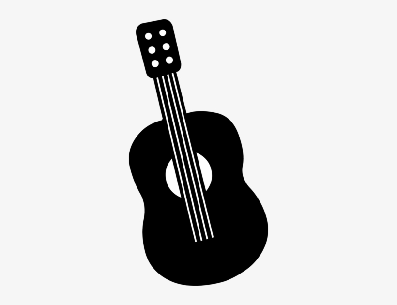Guitar Clip Art By Hallow Graphics Black And White Cartoon Guitar Png Free Transparent Png Download Pngkey