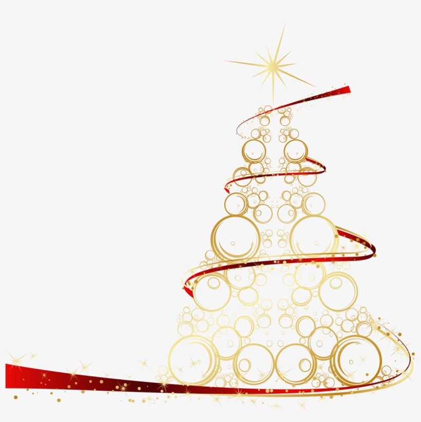 Download - Gold Christmas Tree Vector Png, transparent png #7591073