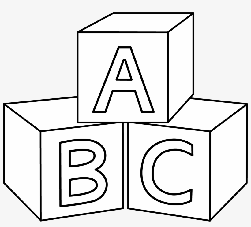 Abc Blocks Coloring Page Block Clipart Black And White Free